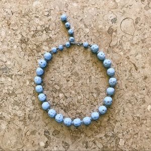 Vintage Light Blue Knotted Bead Necklace